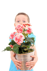boy with potted flower