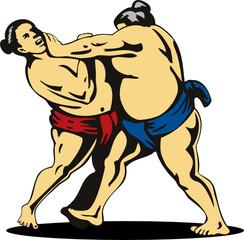 Sumo wrestlers grappling