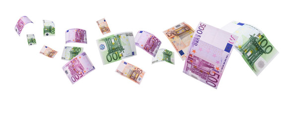 euro notes flying way-clipping path