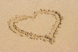 Heart drawn on sand poster