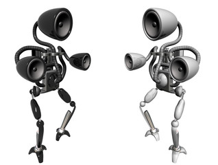 black and white sub-woofer robots