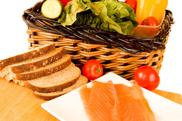 Ingredients for a Smoked Salmon Sandwich