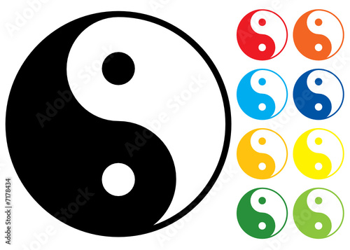 Yin and Yang symbol. Vector illustration. Colour variants.