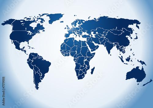 World map dark blue shiny silhouette