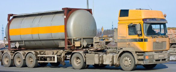 tanker truck moves chemicals