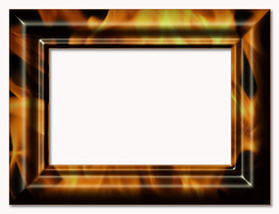 Decorative framework for a photo with the image a flame