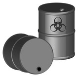 two 3d barrels full with biohazardous chemicals  poster