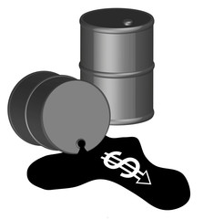 3d - black oil barrel with money running out of spill