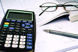 Scientific Calculator with exercise books and glasses poster