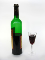 Bottle of wine with wineglass
