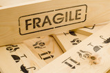 fragile sign on wood box poster