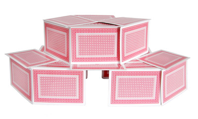 two story card house
