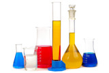 chemical retorts  isolated on  white background poster