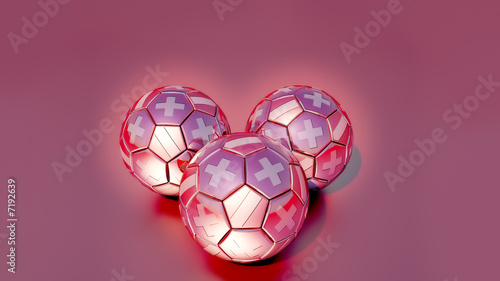 Three soccer balls with signs