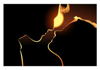 Couple d'amoureux dans la nuit