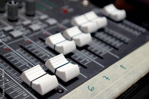 faders of sound mixer console