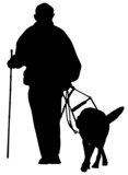 man with guide dog silhouette poster
