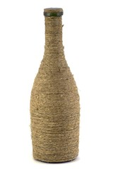 Bottle braided with flax rope for expensive wines