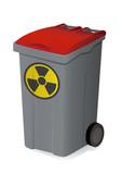 Container de déchets radioactifs rouge poster