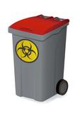 Container de déchets biologiques rouge poster