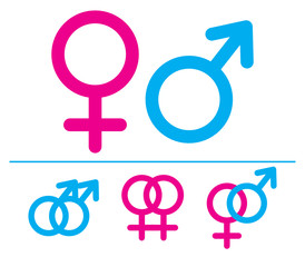 Male and  female symbols. Vector. Combinations.