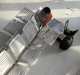 Waiting traveller at airport