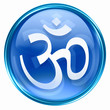 Om Symbol icon blue, isolated on white background