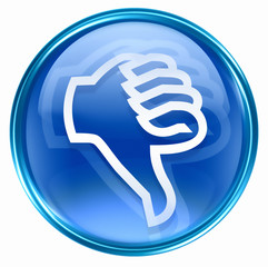 thumb down icon blue, isolated on white background