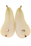 pear slices on white background