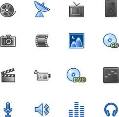 colourful media icons