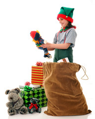 Christmas Elf Checking the Toys