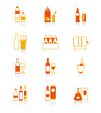 traditional non- and alcohol drinks vector icon set in orange poster