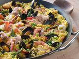 Fototapeta Seafood Paella in a Paella Pan