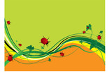 Green and orange abstract background with ladybirds eating poster