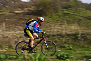 Speed motion mountain biker