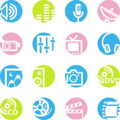 spring circle media icons