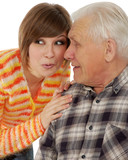 grandad and granddaughter gossiping about life poster