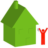 3d house and person with keys - selling or buying house  poster