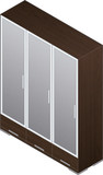 Modern Style Large Wooden Wardrobe with aluminum finish and glas poster