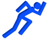 3D stick figure or person running in a hurry poster