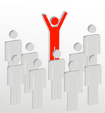 stick figure people with one person addressing the crowd  poster