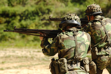 Military training combat - rifle shoot