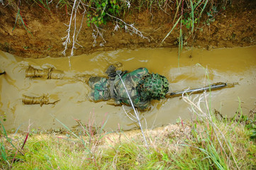 Military training combat - mud environment