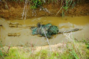 Military training combat - mud environment