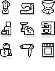 Black contour web icons, set 19
