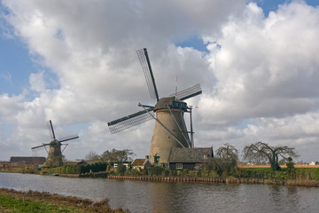Dutch windmills and canal