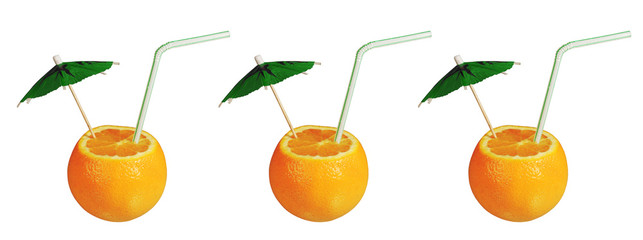 Three oranges cocktails isolated on white
