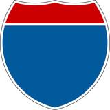 Prázdné Interstate Registrujte se na bílém pozadí