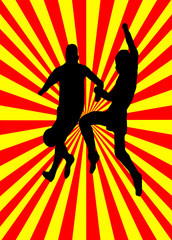 Footballers on Red and Yellow Background