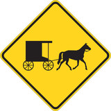 Horse-Drawn Vehicle warning on white poster